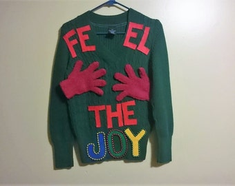 Feel the Joy Ugly Christmas Sweater for Your Next Holiday Sweater Party