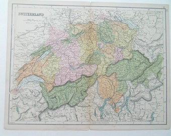 Switzerland antique map from Bacon's atlas dated 1880 26cm x 32cm