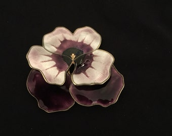 20% OFF SALE***David Anderson Sterling Enamel Pansy Brooch
