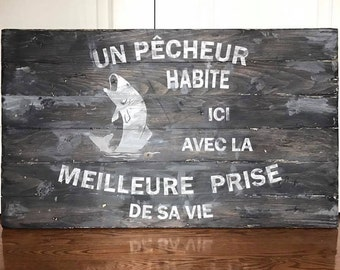 Fishing theme wooden wall frame