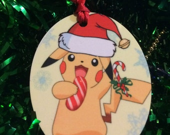 Pikachu santa hat Pokemon Inspired Christmas Tree Ornament 2 Sided Can be Personalized NEW