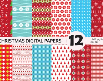 SALE! Christmas digital paper pack, 12 paper, 300 dpi