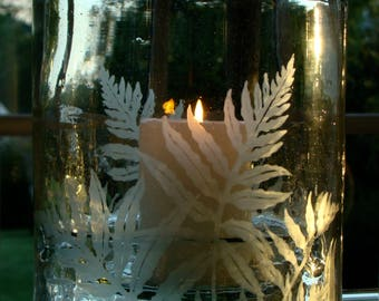Hand-Etched Recycled Glass Candle Holder