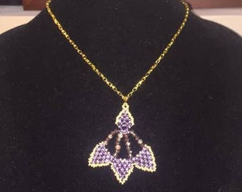 Purple Pendant Gold Chain Necklace