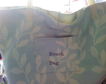 Tote bag, suitable for beach or shopping. Made to any size with any number of pockets,embroidered upon request.