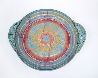Ceramic Platter Tray - Multi-colored Platter with Scrolled Handles - Blue, Red, Yellow, Colorful Rainbow
