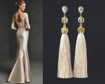 Cream color Natural Silk Tassels with Rock Crystals beads and Gold Plated Earrings Cubic Zirconia paved.