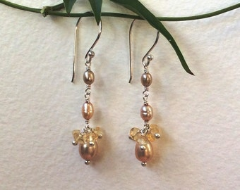 Champagne Pearl and Citrine sterling silver long dangle earrings
