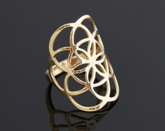 SEEDS OF LIFE of 14 k gold ring