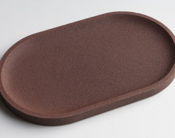 Brown brick concrete oval Tray / / empty Pocket concrete / / decorative concrete tray / / concrete tray / / cast-iron serving tray