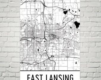 East Lansing Map, East Lansing Art, East Lansing Print, East Lansing MI Poster, East Lansing Wall Art, Map of East Lansing, Gift, Print, Art