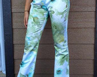 Vintage Flowered Green Pants