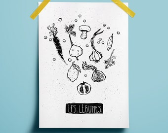 Art vegetables Words french Block print linocut Wall kitchen Dinner vegetarian Poster Tomato Healthy Eat printable Onion illustration fruit