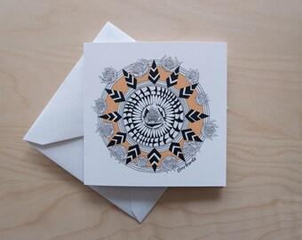 Floral Bloom Mandala (tangerine) Illustrated Greeting Card