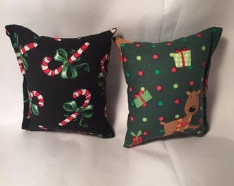 2 - Handmade holiday catnip pillows