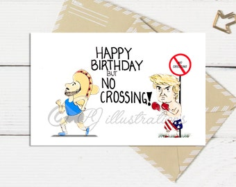 Donald Trump Birthday Card // Handmade Illustration // Humour Blank Card