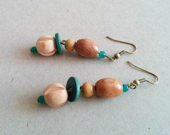 Vintage earrings wooden beads