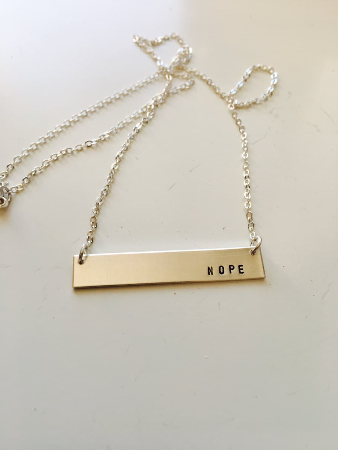 Nope charm necklace// gold fill charm necklace// gold fill// gold fill charm// 14k// sterling bar// bar necklace// sterling charm// gold bar