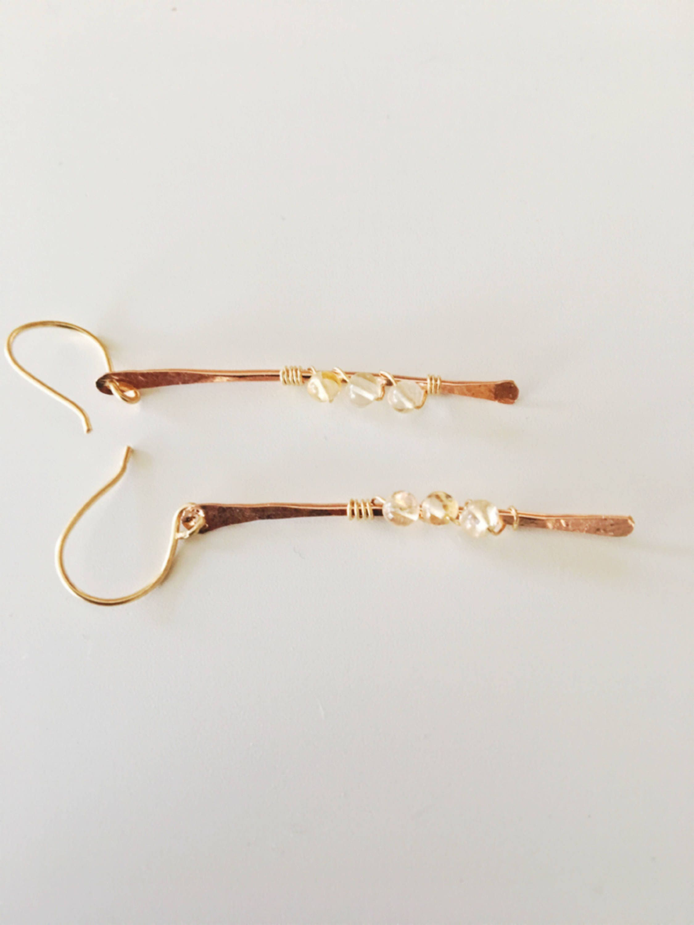 The Nai'a Earrings// Rose Gold Stick Earrings // rose gold citrine earrings// bridal jewelry// bridesmaids jewelry// wedding season//