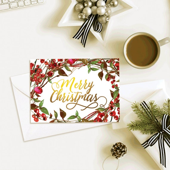 Christmas cards printable, Merry Christmas, christmas card, DIY card, golden font, simple christmas card, printable christmas card