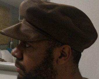 faux distressed leather cabbie cap