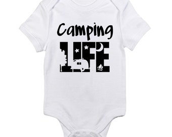 Camping bodysuit or shirt, bonfire, s'mores, outdoors