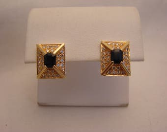 Beautiful Vintage Sapphire and Diamond Earrings in 14K Yellow Gold