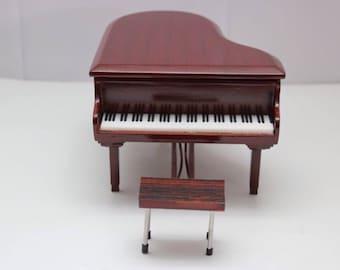 Miniature musical piano instrument brown handmade decorative