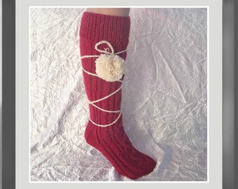 Hand knit socks with pom pom decoration Wine red leg warmers Cozy pair of warm wool home slippers Bridal shower holiday funny gift her mom