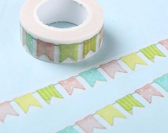 1 Piece Colour Bunting Flag Washi Tape for DIY Decoration, Scrapbooking, Planner Masking, Adhesive Tape