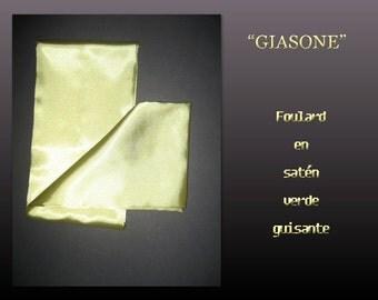 Giasone. Fulard satin green pea.