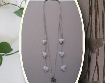 Rino. Hemp necklace with 6 cores in Pearl Grey linen.