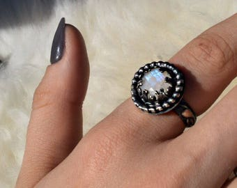 Faceted Moonstone and Sterling Silver Ring    Size: 8.25