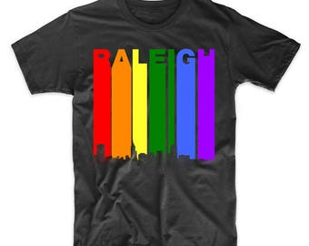 Raleigh North Carolina Skyline Rainbow LGBT Gay Pride Shirt