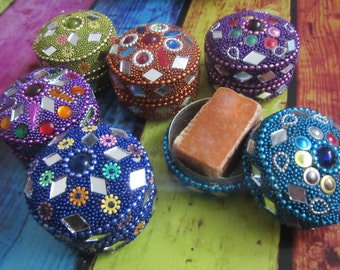 Amber Gris natural perfume in original moroccan handmade precious gift box with little mirrors