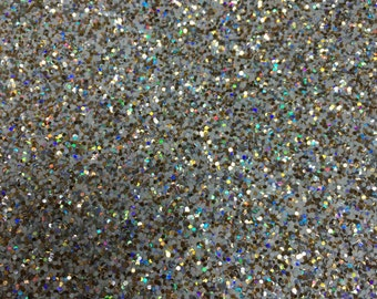 Gold Sparkle Holographic Chunky Glitter fabric