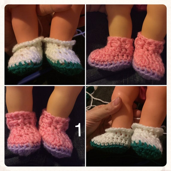 Handmade to order crochet doll boots/shoes. Fits baby born and baby annabelle size/type dolls