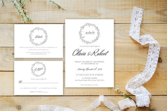 Floral wedding invite word_72,INSTANT DOWNLOAD, Editable Wedding template invitation. Microsoft Word template.Wedding Printable