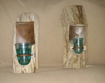Rustic American Chestnut Candle Holder Sconces! 100+ year old timber! One of a kind pair! Custom! Prim shabby chic!