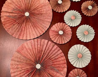Travel theme paper flowers, paper fans, mint paper flowers, paper fan backdrop, travel theme bridal shower, paper fan flowers