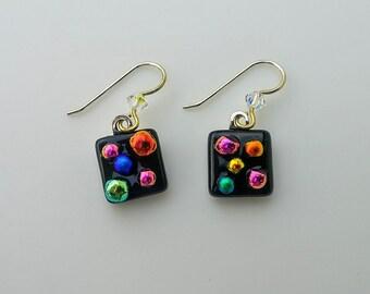 Multicolored Fused Glass Dichroic Earrings,Glass Jewelry,Fused Glass Dichroic Jewelry,Dangle Earrings,Handmade Earrings,Gift for Women