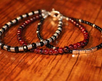 Beaded Bracelet, Red and Black Bracelet, Glass bead and Silver bead Bracelet, Three stack Bracelet