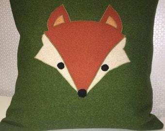 Handmade wool cushion with fox