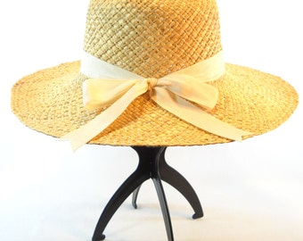 Old Navy Brand Ladies Wide Brim Natural Fiber Sun Hat with Ribbon Bow