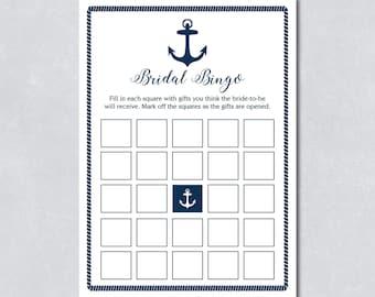 Bridal bingo game / Bridal shower / Nautical navy blue / Anchor / Beach themed / DIY Printable / INSTANT DOWNLOAD