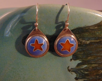 Blue Star Enamel - Enamel & Sterling Silver Earrings