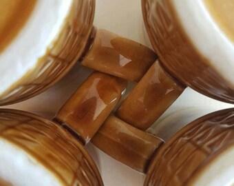 Vintage Mugs or Cups Set of 4 - Made in Japan - Fab Geo Mod - Browns - Tea Coffee - Retro Kitsch