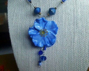 Blue Artisan Flower with drops