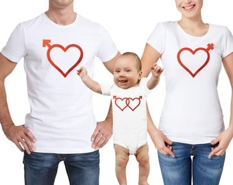 Valentine's day family matching white T-shirts and baby grow set with metallic red hearts.
