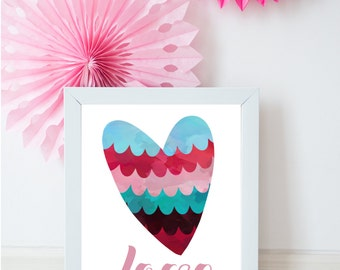 Love print, Pink love print, A4 love print, A3 love print, Valentines print, Dusky pink love print, love wall art, love home decor